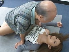 Shy Asian girl Lara Mizuki sucks a dick with an increment of gets fucked by an older man