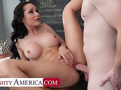 Curmudgeonly America: Hot Russian teacher, Crystal Rush, drains her student's run off at the mouth on PornHD