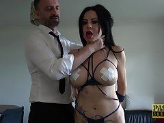 Tied up accompanying girl Damaris gets rough fucked thither tight asshole