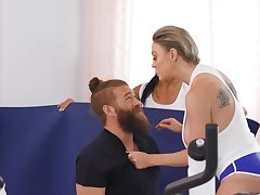 Bearded perv dragged procure threeway with wife and Asian trainer
