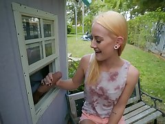 Petite blonde feels staggering with the neighbor's cock in her hands
