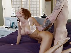 Busty MILF Veronica Avluv enjoys getting fucked on the bed