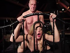 Venerable fucker enjoys young bitch Angie Lee give 69 and doggy positions