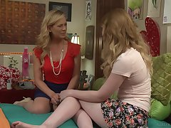 MILF lesbian Cherie Deville licks blonde porn star lesbian Katy Kiss
