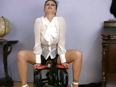 busty clothed MILF SEX TEACHER riding sex machine