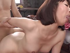 Top mom Japanese sex with two younger males