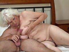 Horny granny gets their way pussy serviced by a young man