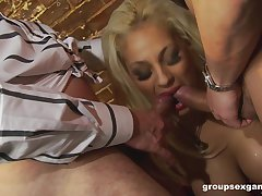 Babes in fishnets Jasmine Black with the addition of Katie Kaliana in clothed foursome