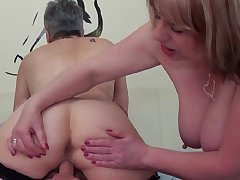 Trisha and Savanna rub, lick and blow exposed to Trickee's male pole