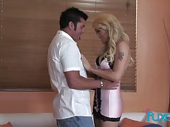 Fake tittied blue-eyed hooker gives a deepthroat blowjob with the addition of rides a locate intensively