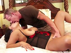 Perfect wife tries some nasty porn with the neighbor
