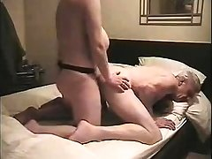Shaved pussy doggystyle fucked by strapon