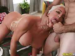 Bimbo milf is a sloppy cocksucking slut for his respect