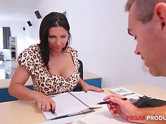 Tantalizing cleavage of pretty lady boss Missy White-headed drives him daft