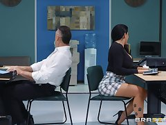 sexy secretary Romi Rain adores hard fuck with her extra in her office