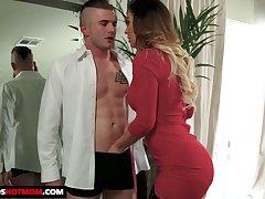 Fabulous busty sexpot in black stockings Cherie Deville gives tremendous BJ