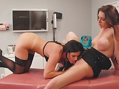 Hotties in the hospital have wild lesbian sex