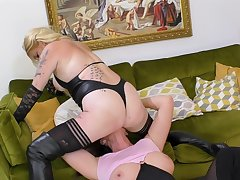 Mature lesbians close to brutal scenes be fitting of femdom porn