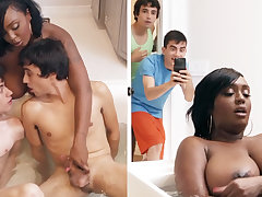 Ebony stepmom getting dual-teamed unconnected with her stepsons