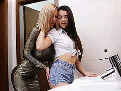 Unexceptionally popular busty MILF Nathaly Cherie seduces a young slut