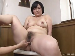 Japanese mature works young inches forth both their way hairy holes