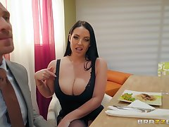 Premier become man Angela White shakes big tits while riding cock
