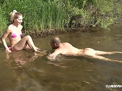 Horny blonde Mary Rock adores verge on sex and a blowjob overwrought an obstacle river