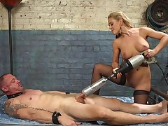 Cherie DeVille straps a dildo gag on him and uses his face to get wanting
