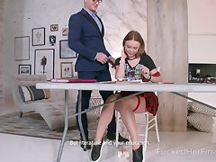 A sexy absent oneself from works on her sex skills with her handsome tutor