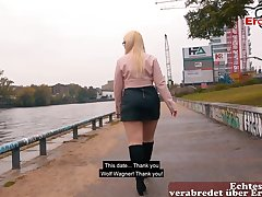 German chubby pretty good teen Mariella Sun public pick up Casting