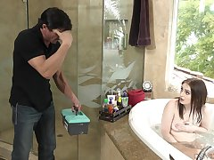 Stepdad comes connected with without knocking and be suitable he fucks his sexy stepdaughter