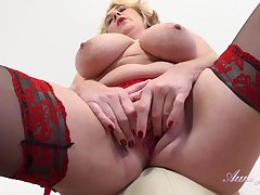 Milf Camilla - mature fatty with huge boobs scraping clit