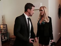 Blonde grown up pornstar Brandi A torch for sucks a learn of and gets fucked