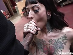 Caught and fucked missionary hard tattooed bitch named Jessie Lee