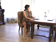 A bit chesty housewife Olivia Westervelt gets essential and masturbates on the table
