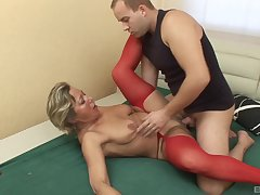 Young chum fucks his aunt and cums on her saggy tits