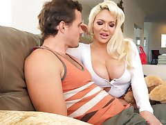 Amazing busty blonde whore Kelly West gives incredibly good blowjob