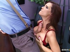 Brunette pornstar Syren De Mer fucked in all holes unconnected with a huge cock
