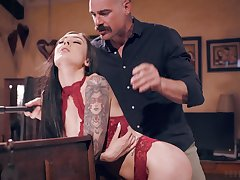 Older gent gets the make a monkey out of young night beauty Marley Brinx