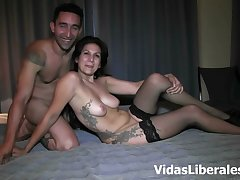 Sexy brunette milf enjoys Her man's cock