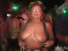 These mature women love to flash in public and they've got big natural tits