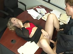 A secretary who surprises the boss!
