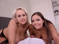 DDFBusty - Angel Wicky And Sofia Lee Titty Fucking Frie