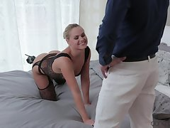 Cute tow-headed wife teases with her lingerie and gets fucked good