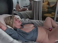Hot MILF giving BJ together with rubbing her sopping cunt