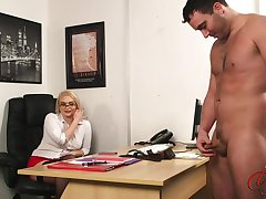 Secretary Steph watches her horny boss simian his small dig up