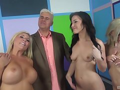 Nice fucking on the bed between one man, Jennifer White and 2 more babes