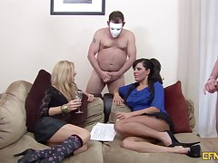 Camouflaged man gets his dick pleasured at the end of one's tether Amissi and Scarlett March
