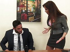 Sexy milf Mr Big brass Syren De Mer exploits employee for dick hd