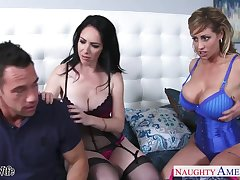 Team a few big tittied whores bang handsome fastened guy Eva Notty and Bella Maree